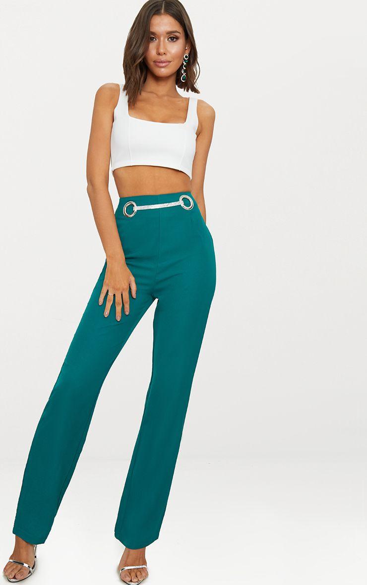 Emerald Green Diamante Detail Straight Leg Trousers