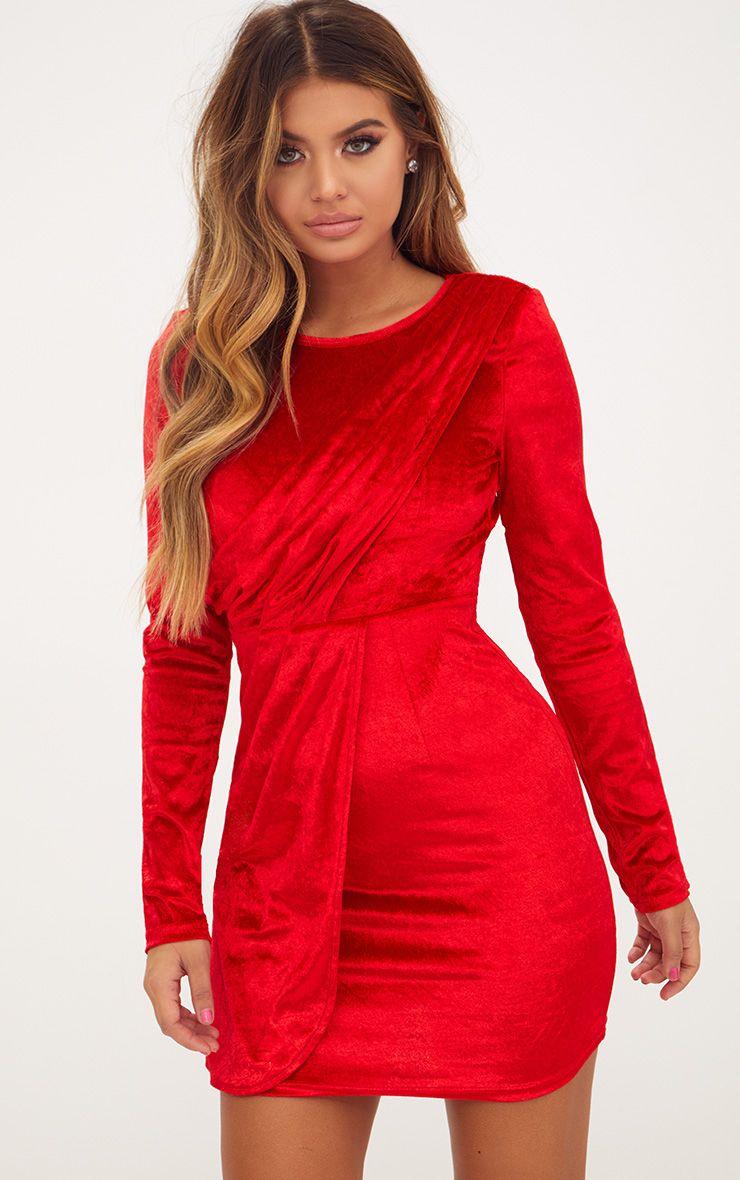 Red Long Sleeved Velvet Wrap Detail Bodycon Dress