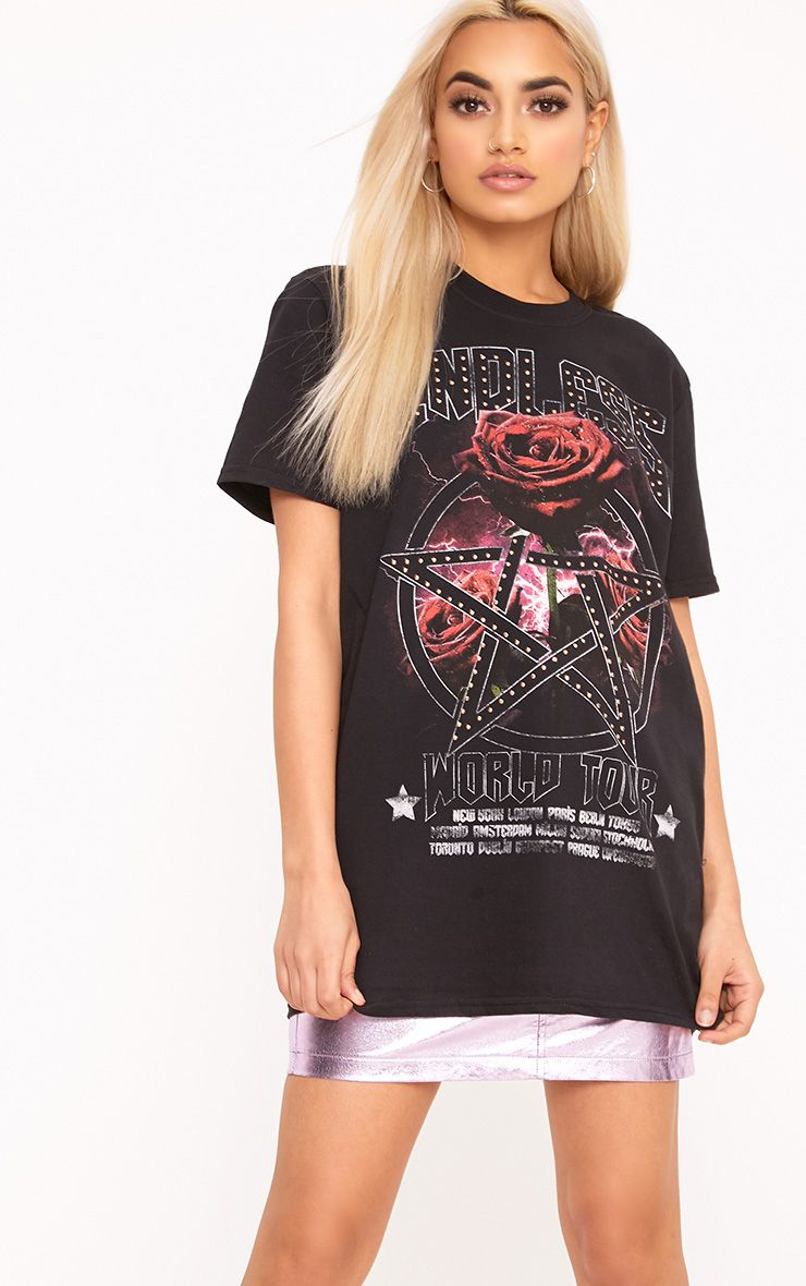 Endless Rose Black Studded Slogan T Shirt