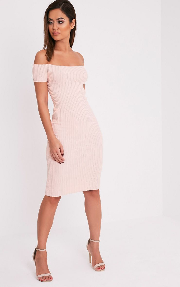Erin Nude Bardot Ribbed Knited Midi Dress