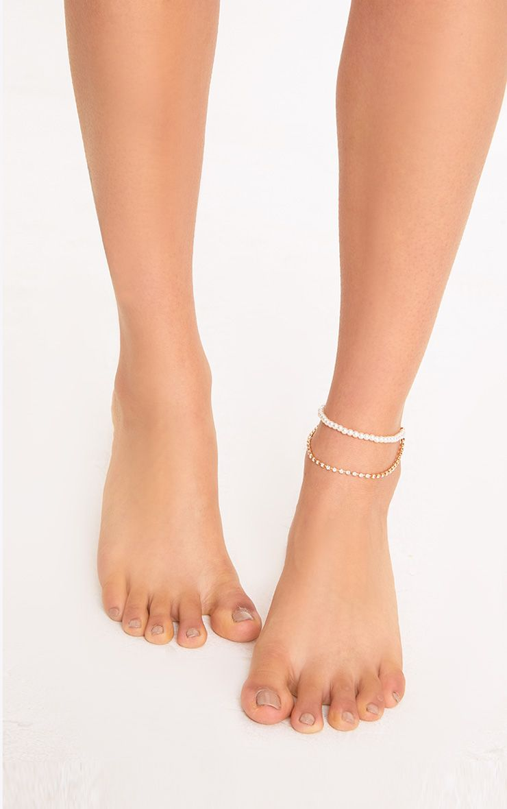 Ella Gold Pearl & Diamante Chain Anklet
