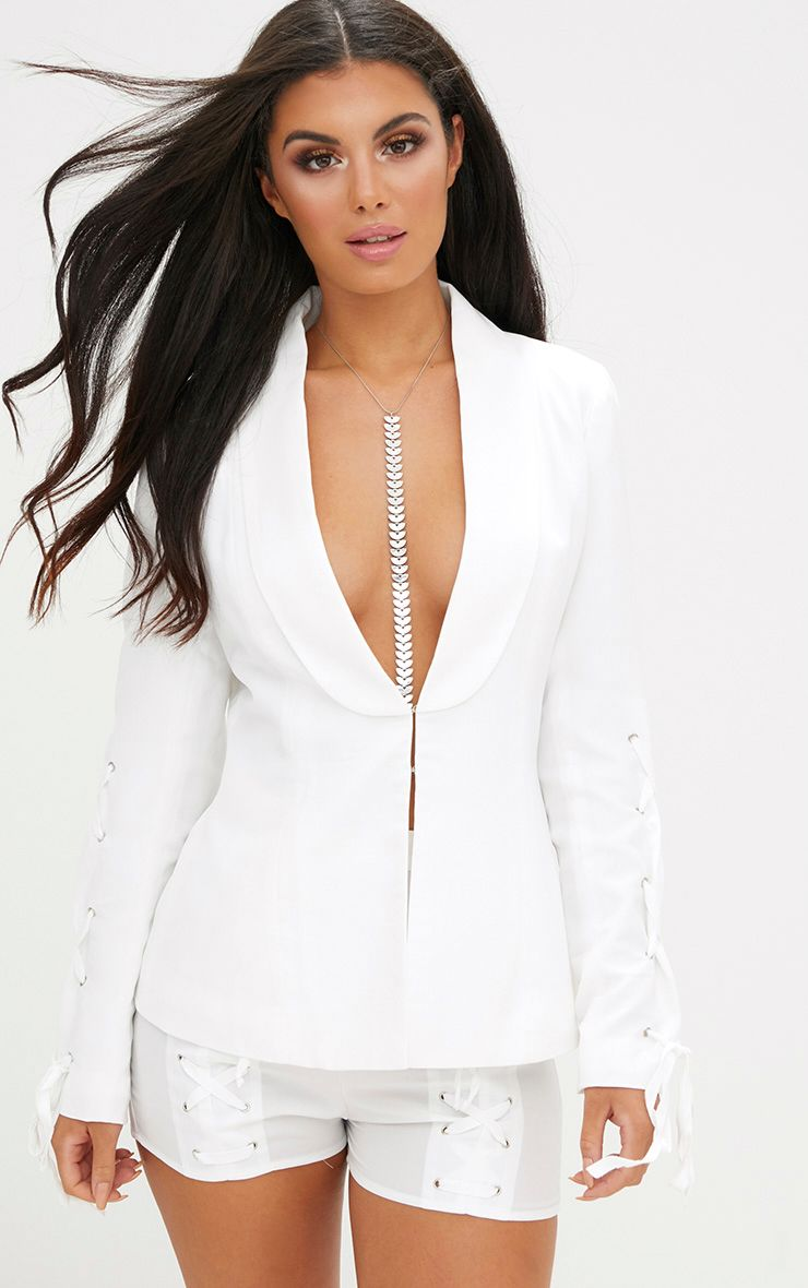 White Lace Up Sleeve Blazer