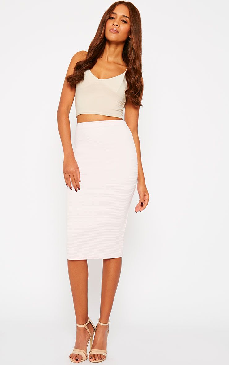 Morgan Baby Pink Ribbed Midi Skirt  1