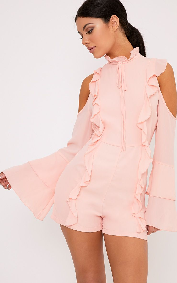 Samantha Pink Ruffle Tie Neck Playsuit
