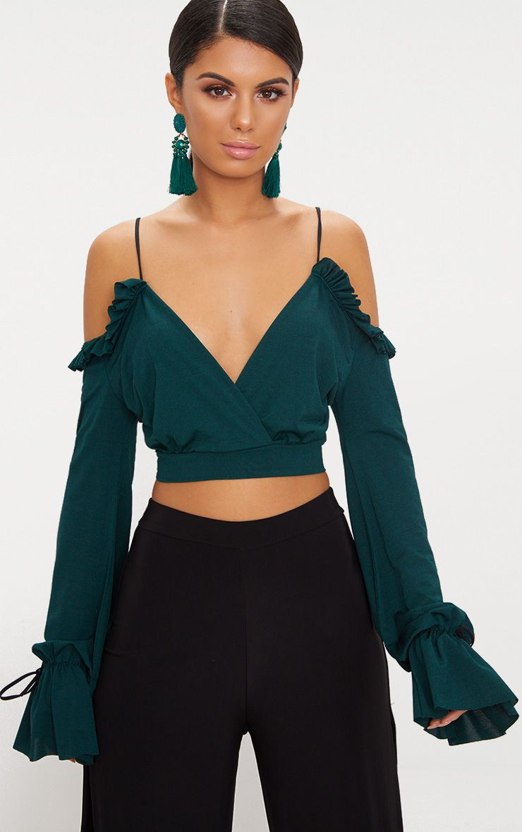 Emerald Green Slinky Spaghetti Strap Cold Shoulder Crop Top