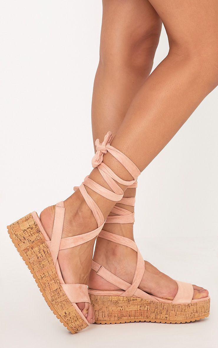 Ayla Blush Lace Up Flatform Wedges