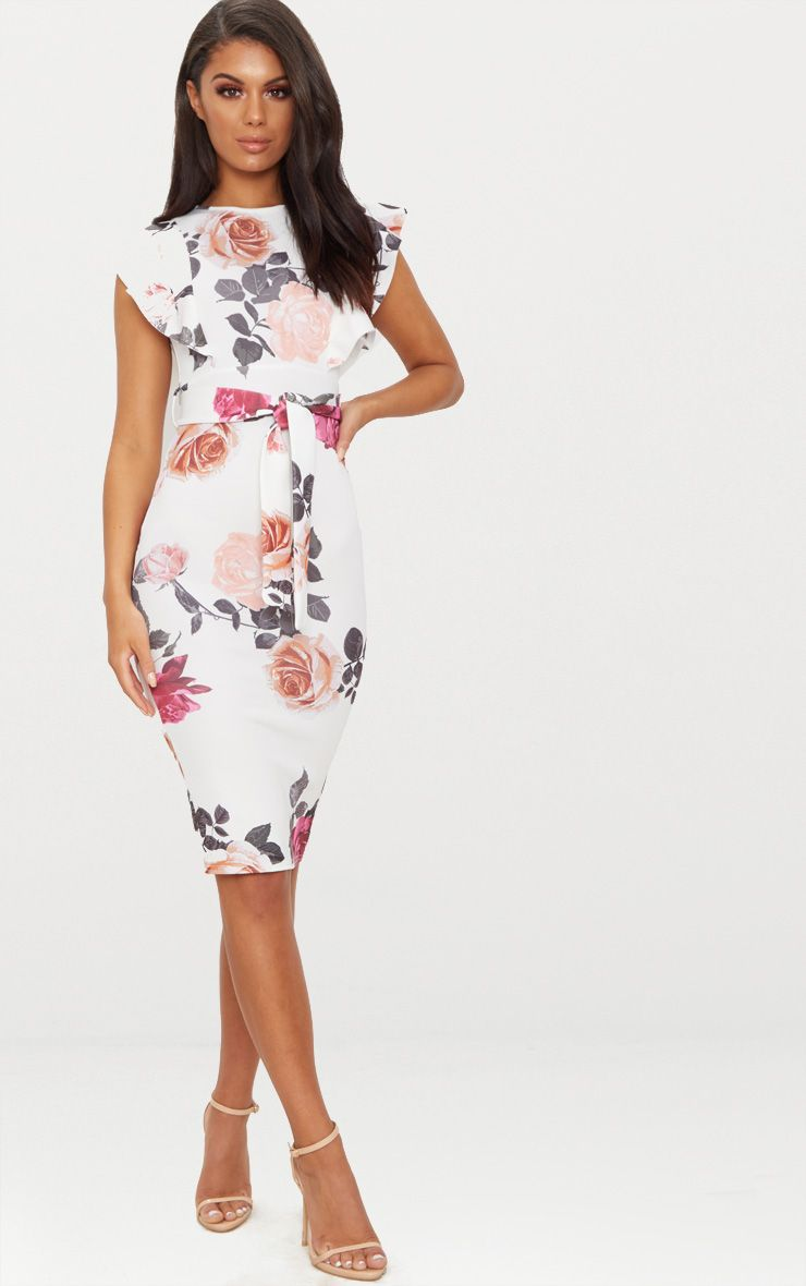 White floral print frill detail midi dress prettylittlething for Red midi dress wedding guest
