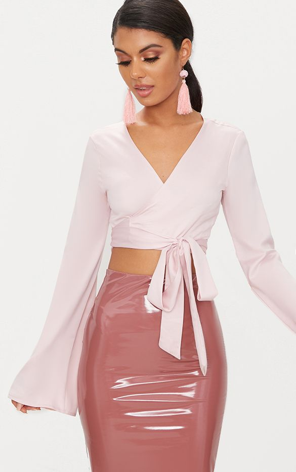 Blush Satin Twist Front Wrap Blouse