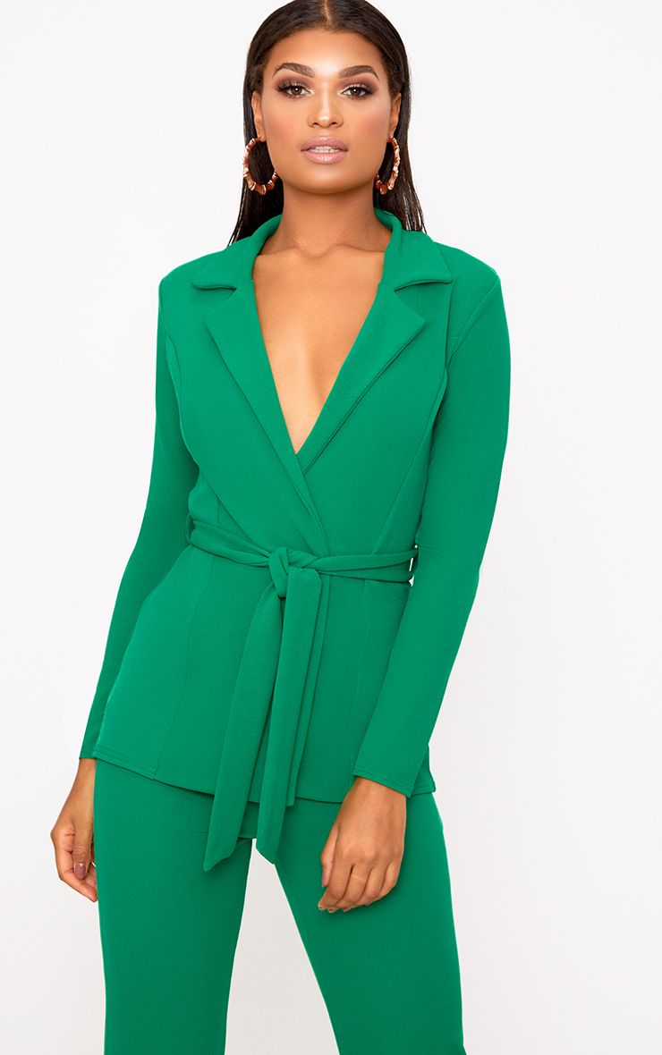 Green Belted Blazer