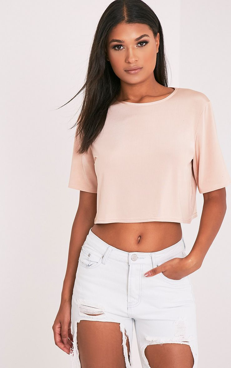 Elodie Nude Slinky Crew Neck Cropped T Shirt 1