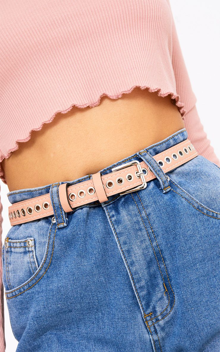 Pink Thin Eyelet Detail Belt