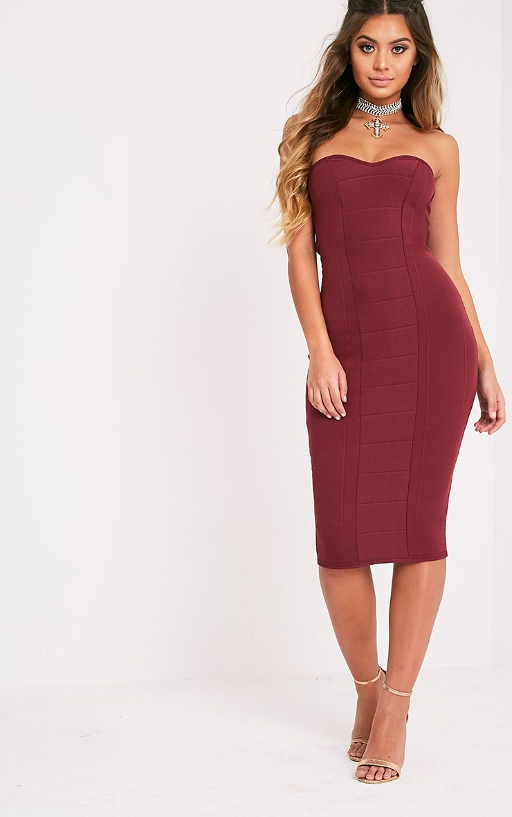 Kayalla Burgundy Bandage Bandeau Midi Dress