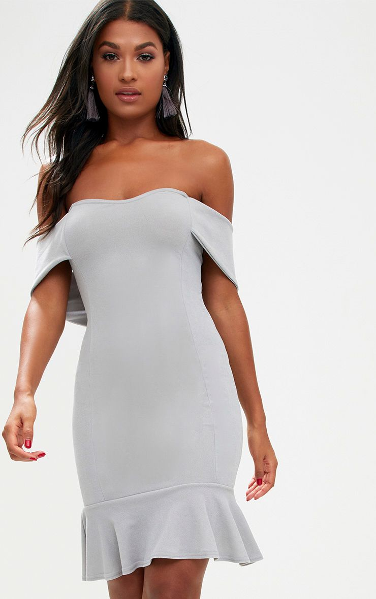 Ice Grey Bardot Frill Hem Bodycon Dress