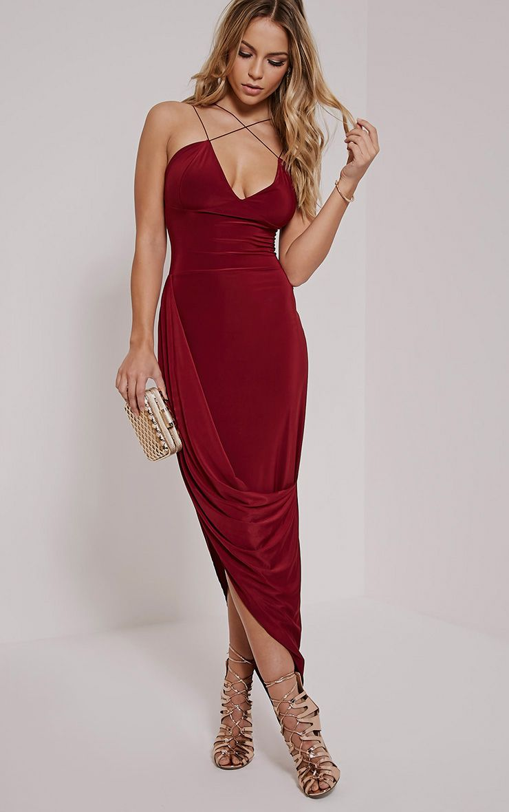 Velma Burgundy Double Strap Ruched Midi Dress 1
