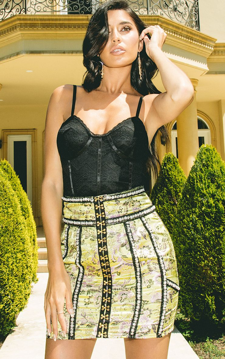 Archa Black Lace Panelled Thong Bodysuit
