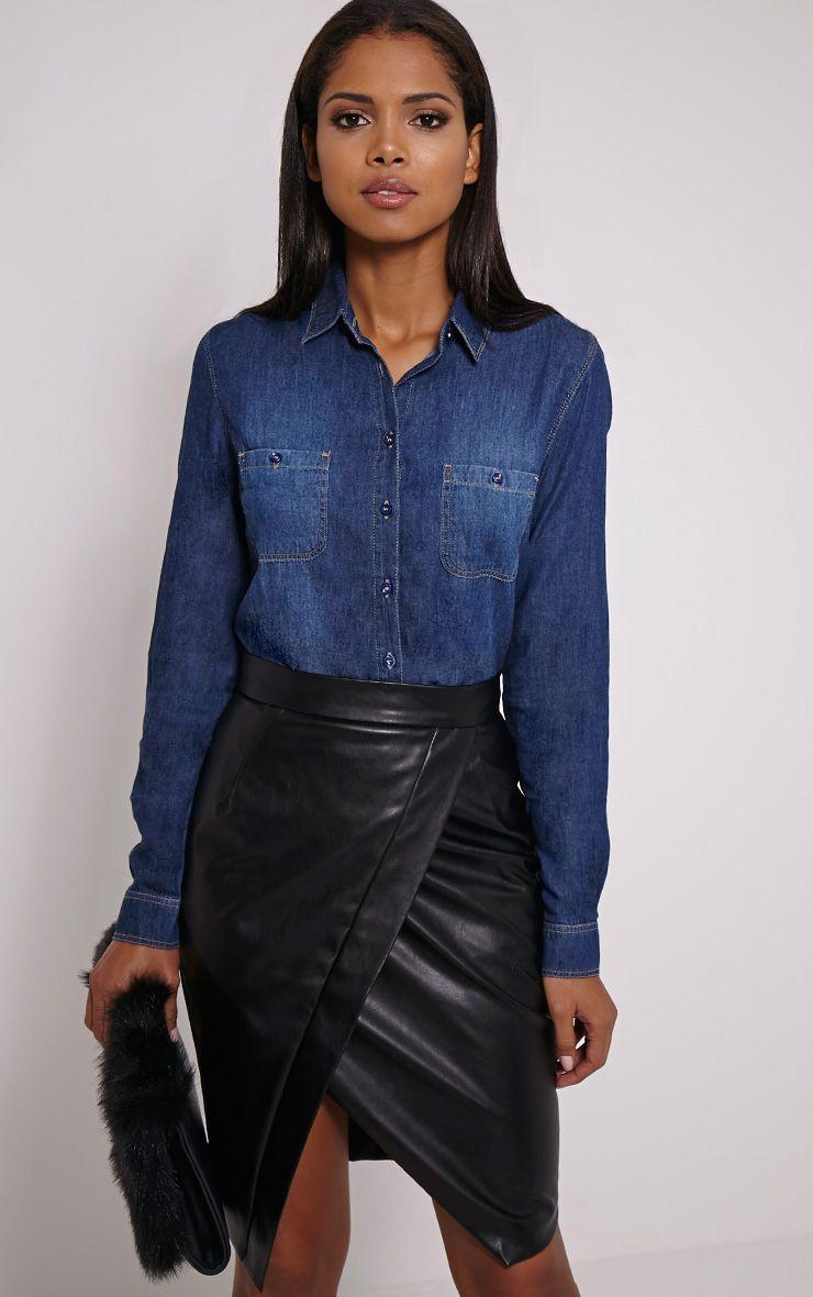 Fairah Mid Blue Fade Front Denim Shirt 1