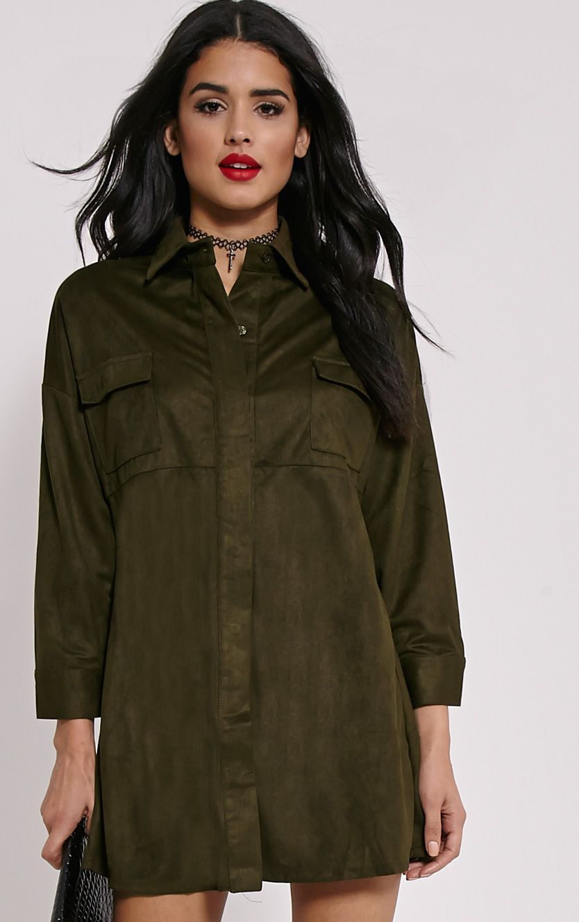 Primula Khaki Faux Suede Shirt Dress 1