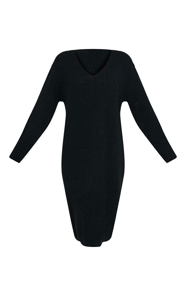 Breeze robe pull surdimensionnée à col en V noire 3