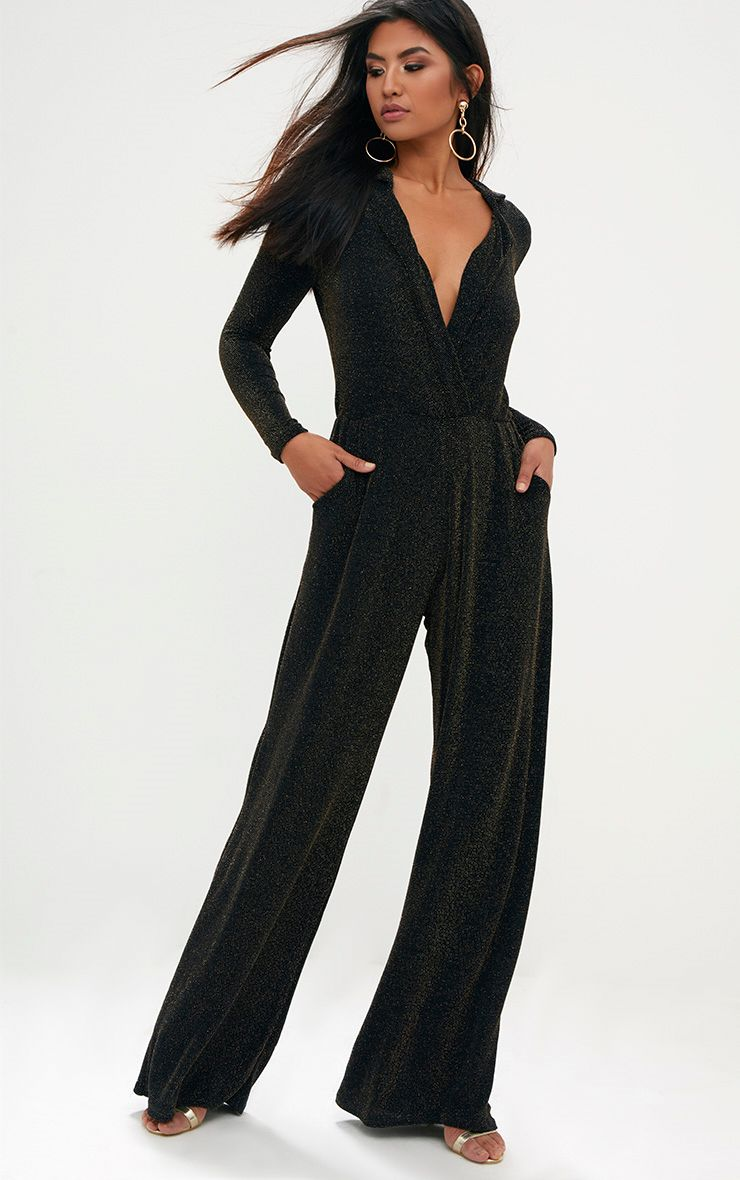 Black Lurex Plunge Jumpsuit