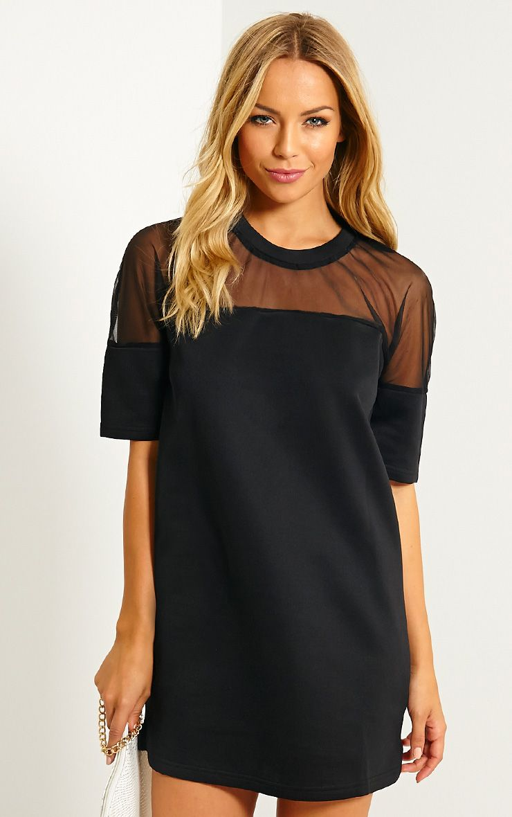 Camille Black Mesh Top Shift Dress 1