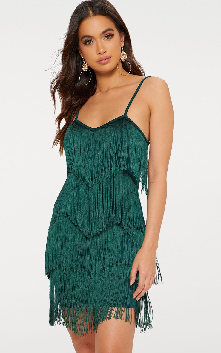 Emerald Green Tassel Layered Bodycon Dress | PrettyLittleThing AUS