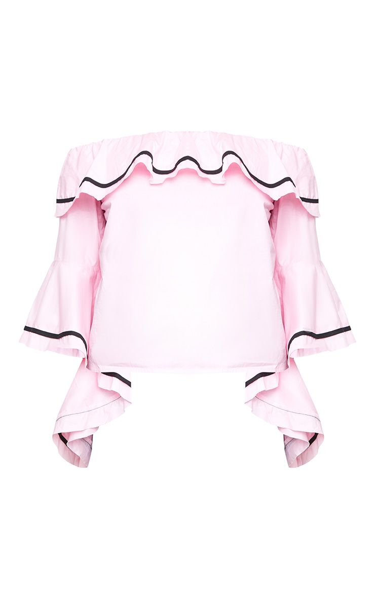 Baby Pink Bardot Contrast Piping Frill Sleeve Shirt Tops