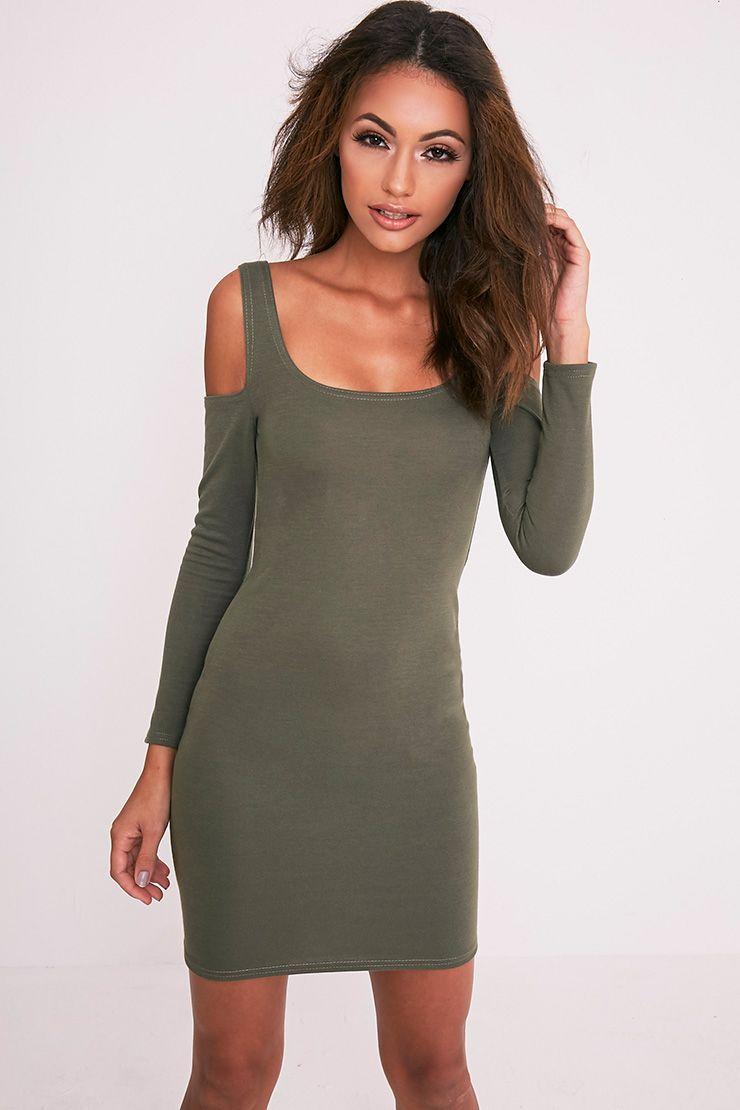 Eshan Khaki Ponte Cold Shoulder Bodycon Dress