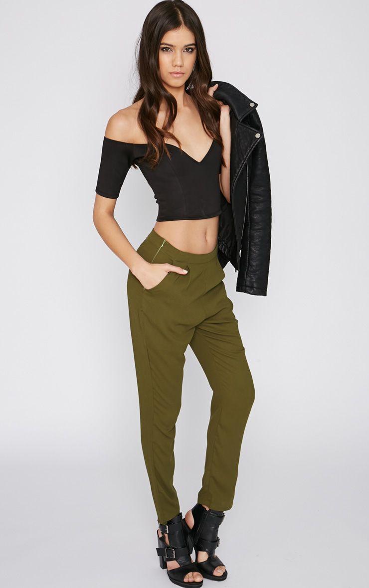 Yesenia Khaki Crepe Trouser 1