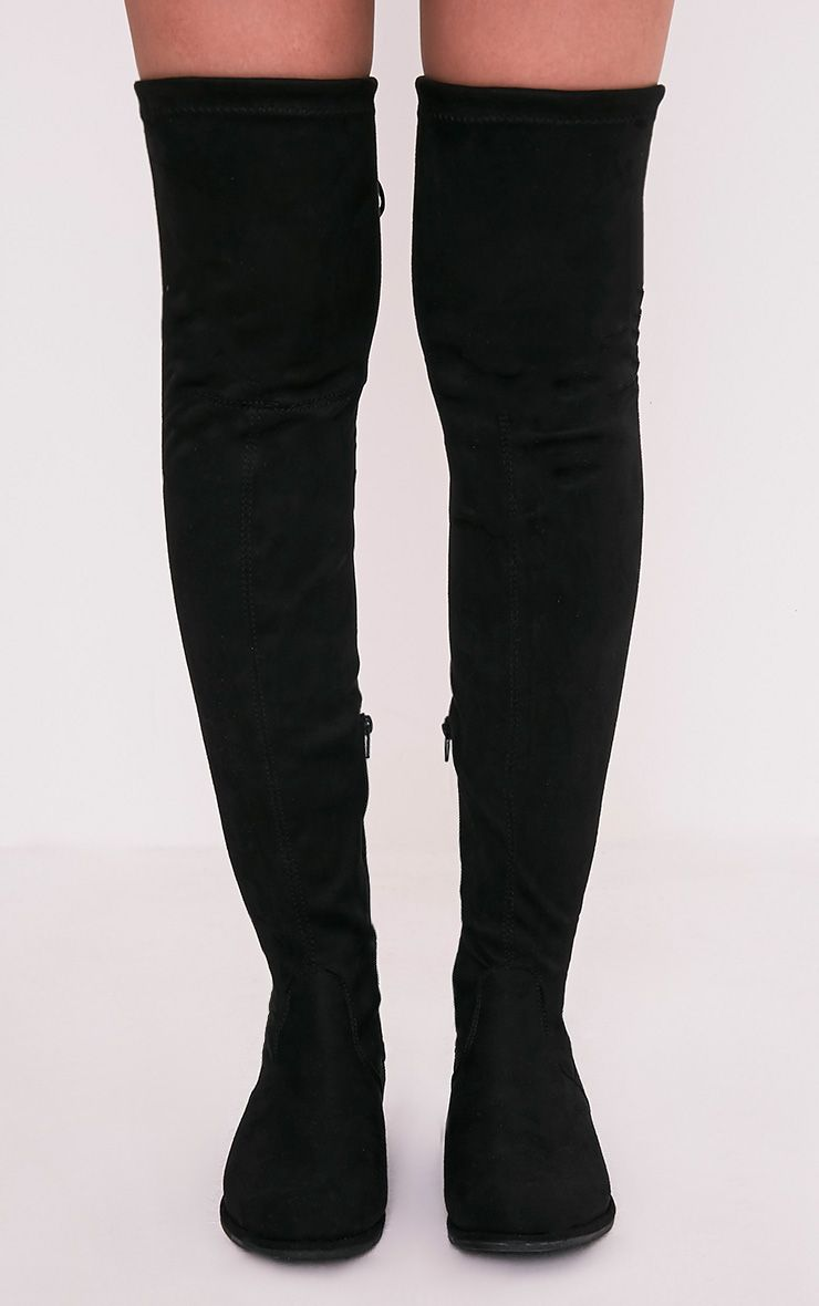 Hillary Black Faux Suede Over The Knee Flat Boots Boots