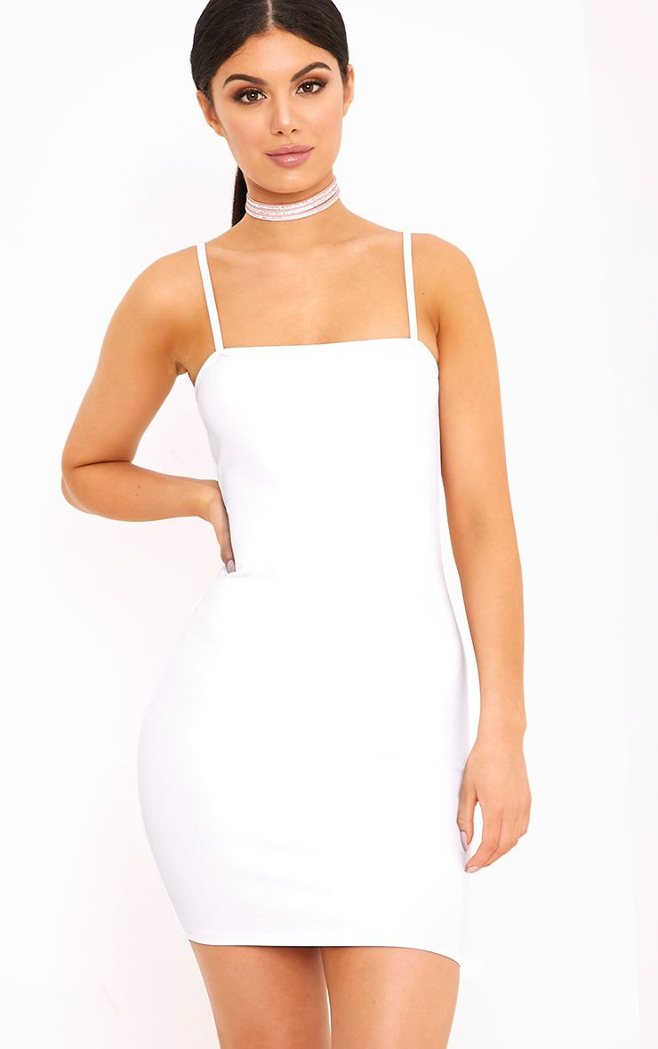 Desri White Straight Neck Bodycon Dress