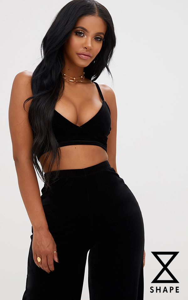 Shape Black Velvet Bralet