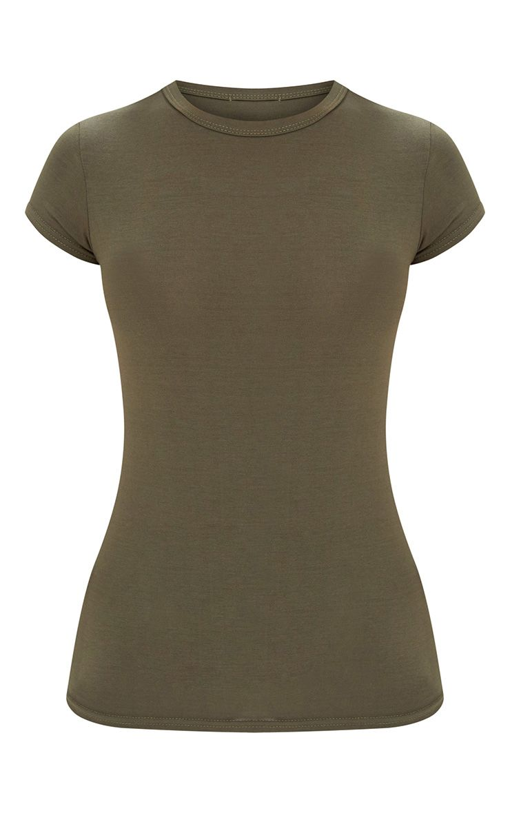 Basic Khaki Crew Neck Fitted T Shirt Tops