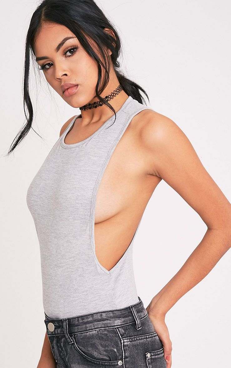 Grey Drop Armhole Thong Bodysuit