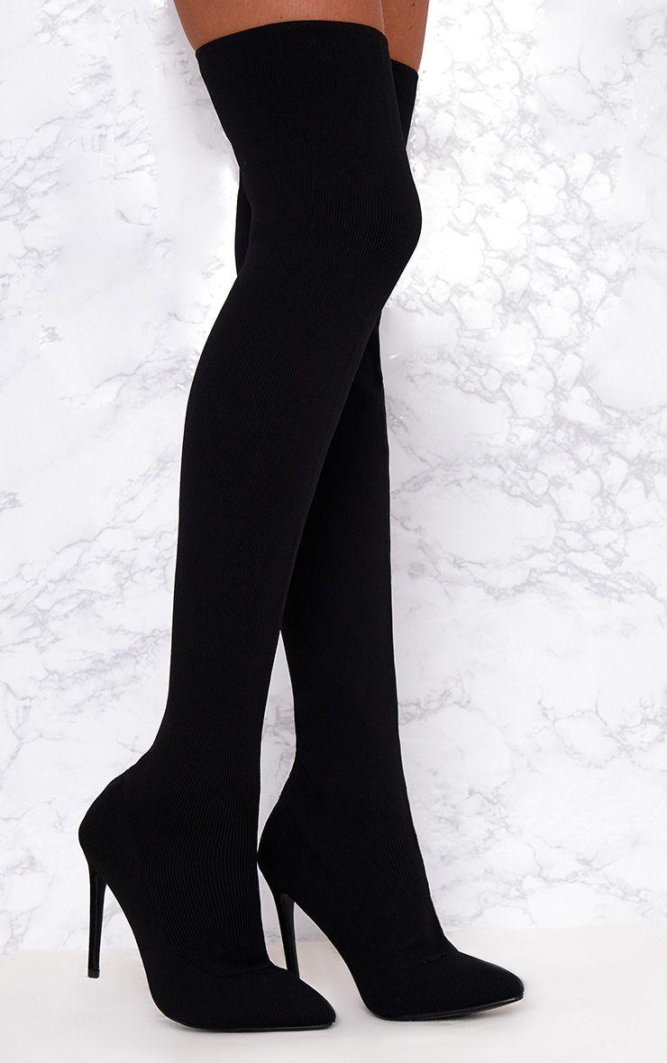 Bottes chausettes noires mi-cuisses
