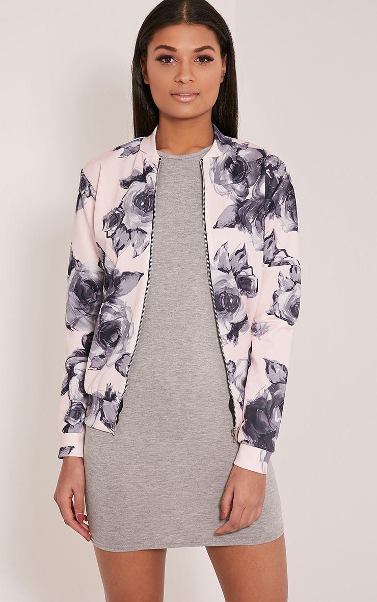 Liana Pink Floral Scuba Bomber Jacket 1