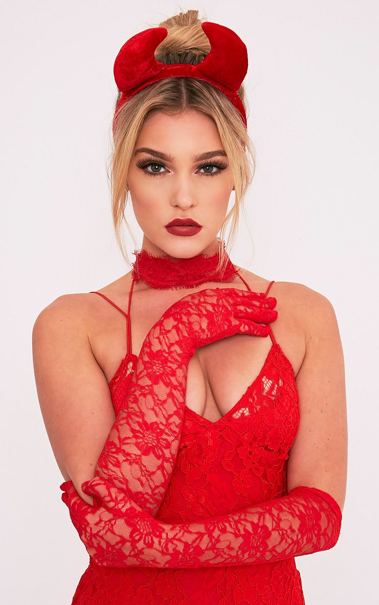 Red Lace Long Gloves