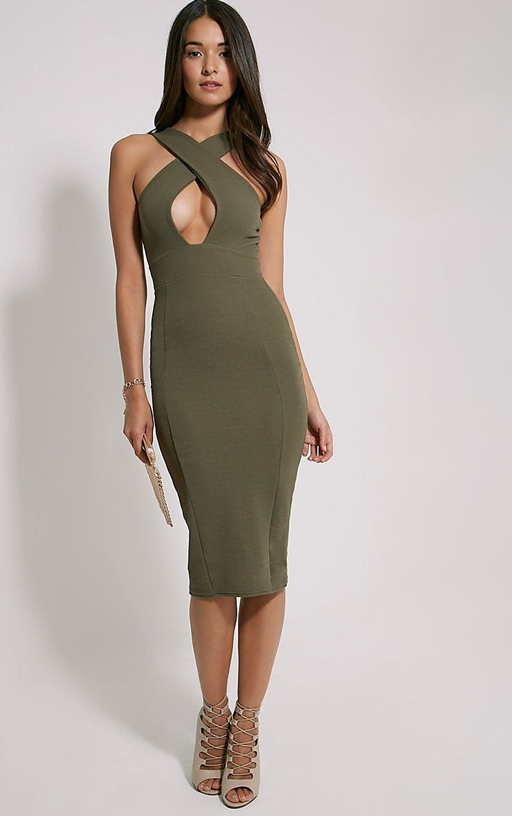 Lina Khaki Cross Front Midi Dress
