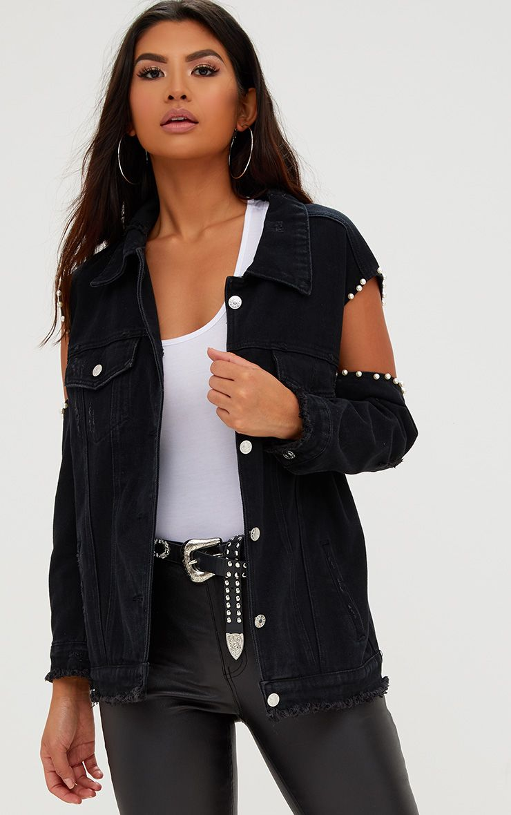 Black Cold Shoulder Pearl Trim Denim Jacket