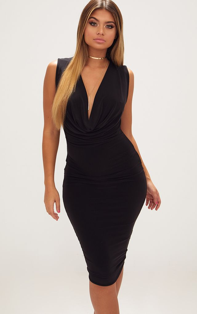 Cheap Sale Clearance Quality From China Cheap Black & Nude 2 Pack Cowl Neck Wrap Bodycon Dress Pretty Little Thing Visit Cheap Online Buy Cheap Professional Ddds88h0