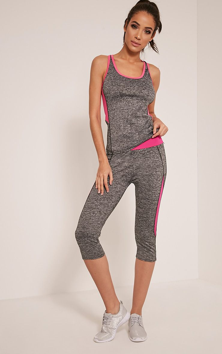 Jennie Pink Panel Detail Cropped Gym Leggings