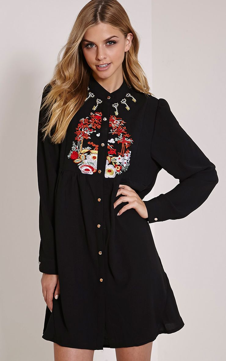 Amika Black Embroidered Sheer Collarless Shirt Dress 1