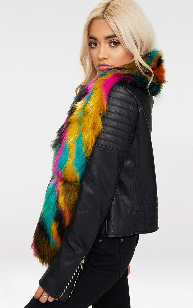 Multi Colour Faux Fur Scarf 1