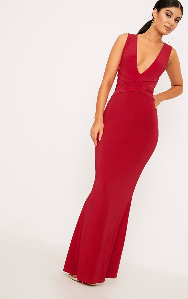 Red Maci Double Wrap Slinky Maxi Dress