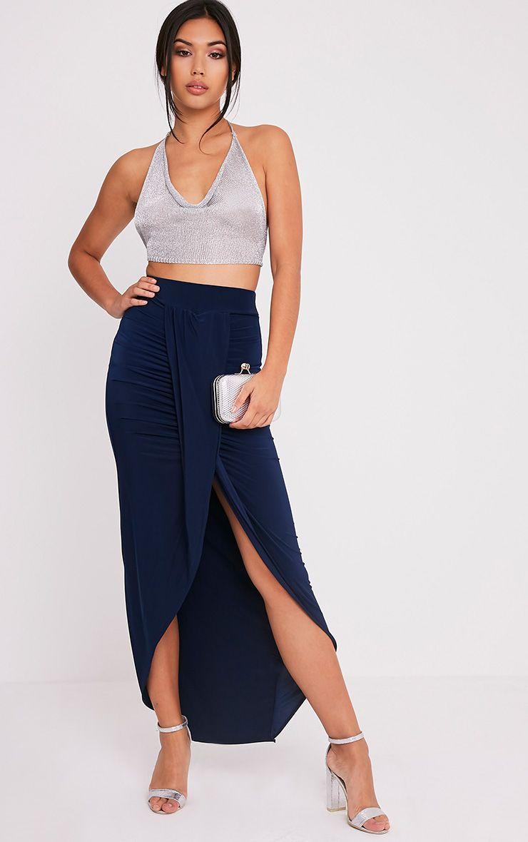 Lucia Navy Slinky Drape Ruched Maxi Skirt