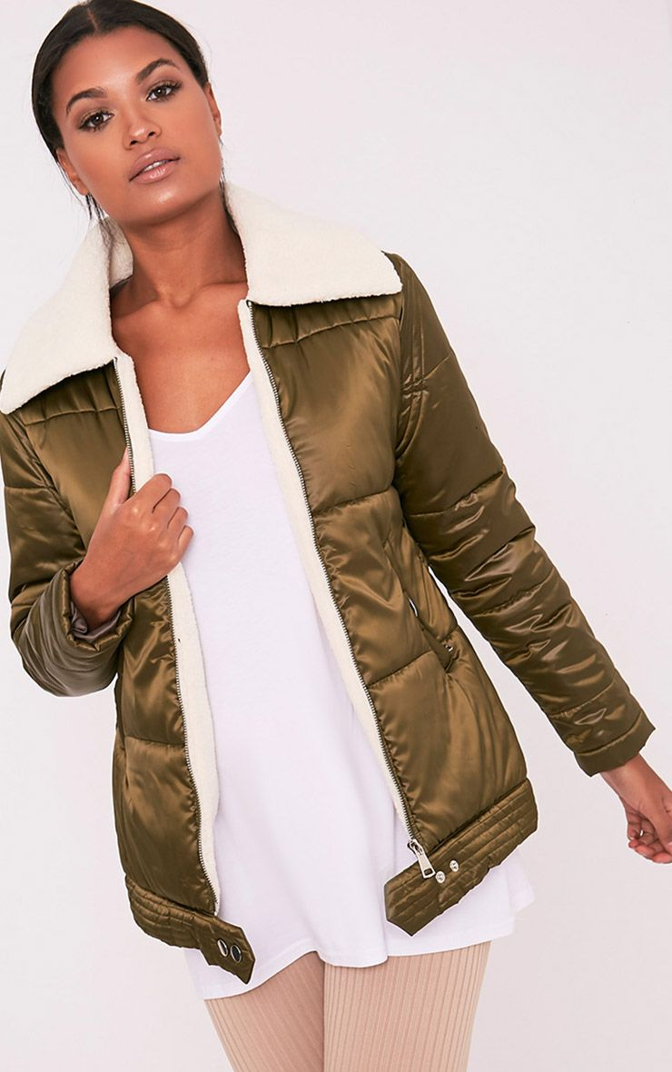 Brai Khaki Satin Faux Shearling Collar Puffer Coat