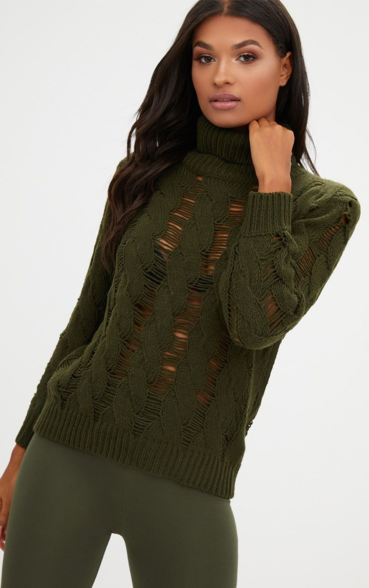 Khaki Roll Neck Distressed Knitted Jumper