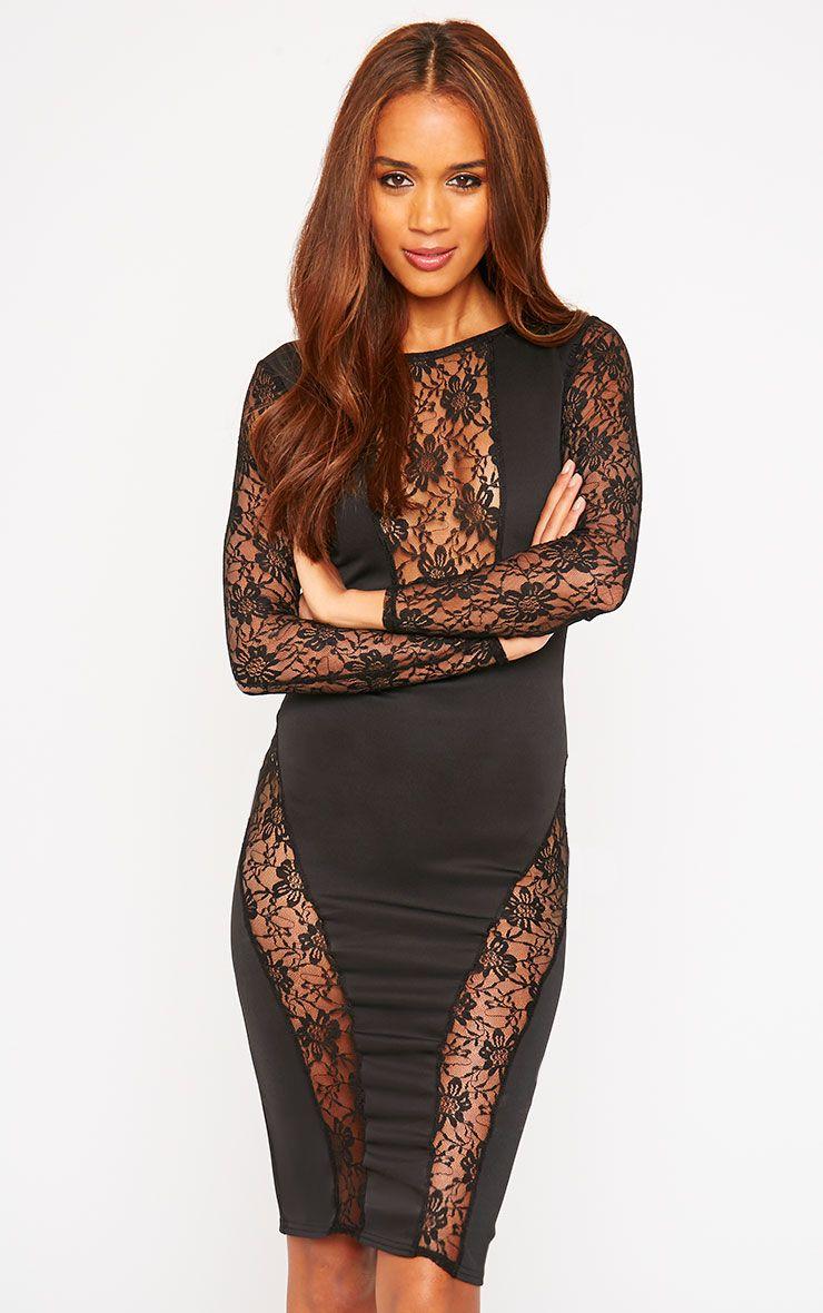 Perla Black Lace Insert Dress 1