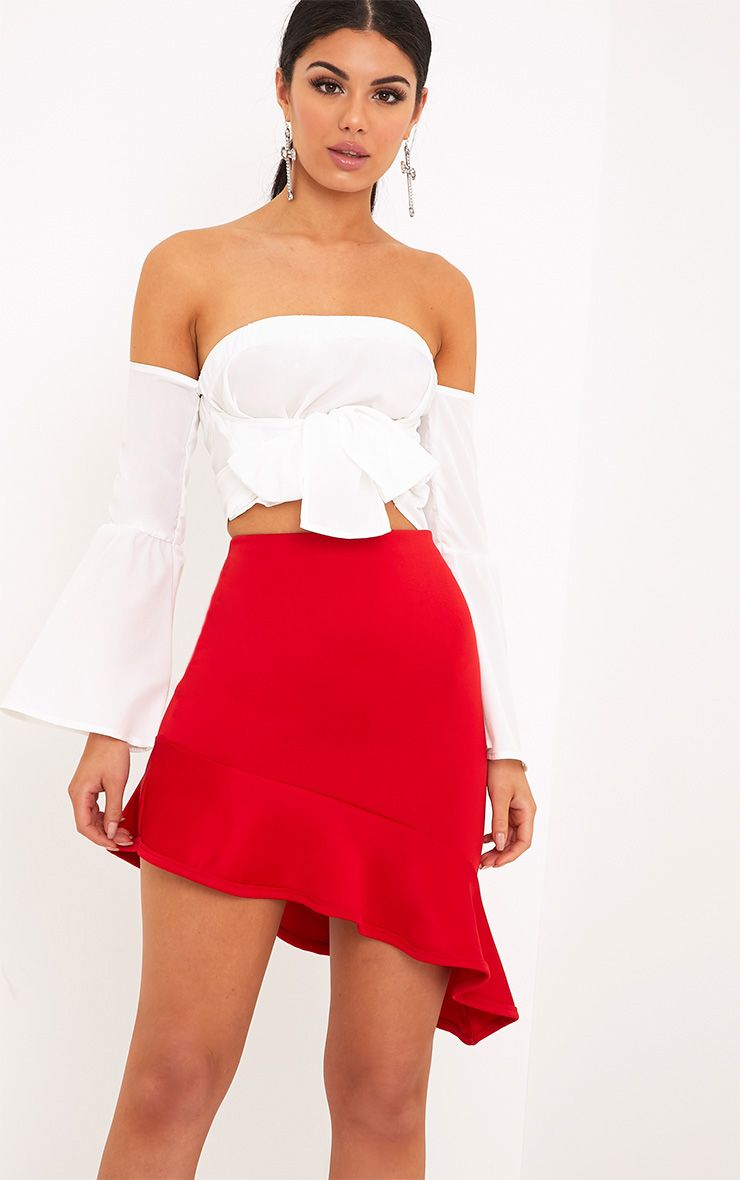 Alexandra White Tie Front Flare Bardot Crop Top