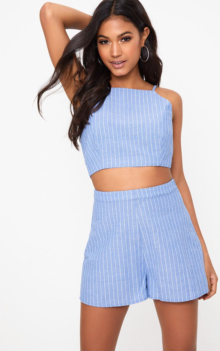 Blue Pinstripe Shorts