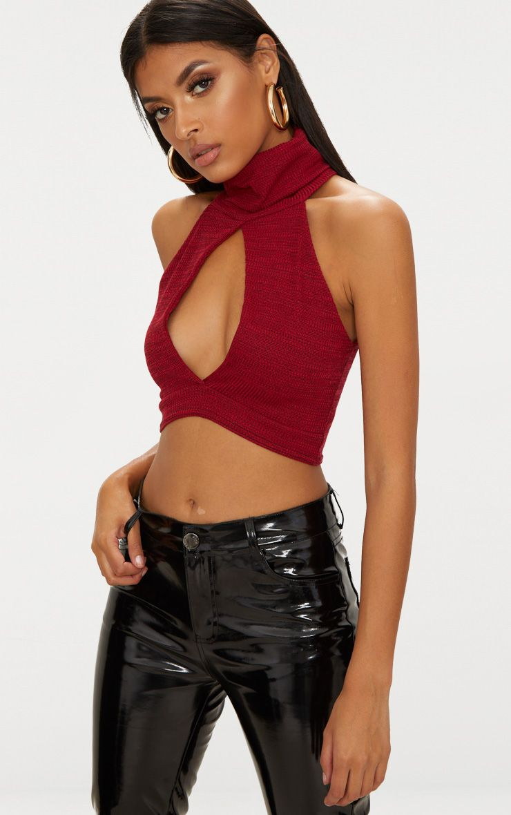 Red Ribbed Roll Neck Open Plunge Crop Top